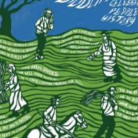 This is a green and blue poster with white text and prints of people. They are all standing in wavy fields of grass that have text flowing along insides of them.